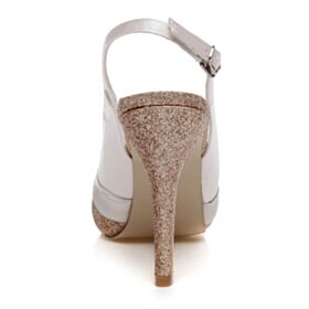 Glitter Elegant 4 inch High Heeled Stilettos Bridals Wedding Shoes Sandals For Women Peep Toe