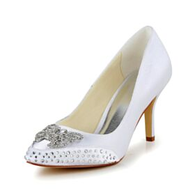 White Beautiful Stiletto Bridal Shoes Satin 8 cm High Heels Pointed Toe Pumps Dress Shoes