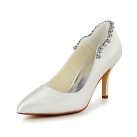 Bridesmaid Shoes Satin Wedding Shoes Charming High Heels Ivory Pumps