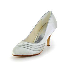 Pumps Schönes Brautschuhe Ivory Brautjungfer Schuhe Satin Stilettos Mit 8 cm High Heels