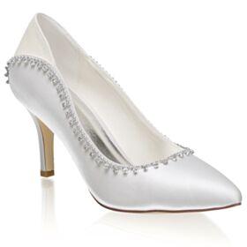 Stilettos Pointed Toe Glitter Pumps 8 cm High Heels Beautiful Bridesmaid Shoes Bridals Wedding Shoes Satin