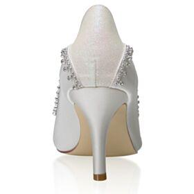 Stiletto En Punta Fina Elegantes Zapatos De Novia 8 cm Tacon Alto Con Strass Blancos Zapatos Tacones