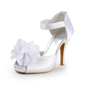 Elegante High Heel Knöchelriemen Stilettos Peeptoes Brautschuhe Satin Weiß Sandaletten