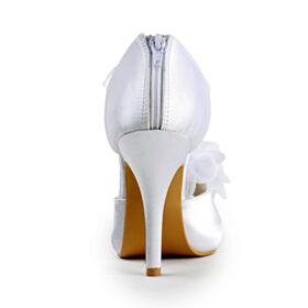 Elegant Peep Toe Womens Sandals With Ankle Strap Stilettos 4 inch High Heel White Bridals Wedding Shoes