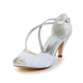 Brautschuhe Weiß Stilettos Runde Zeh Satin Sandaletten Damen Tüll 7 cm Mittel Heel Elegante