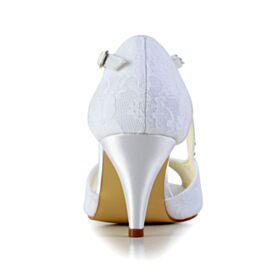 Mid Heels Stiletto Tulle Bridesmaid Shoes Bridal Shoes Round Toe With Rhinestones White Sandals For Women