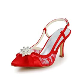 Red Wedding Shoes Stilettos Sandals For Women 3 inch High Heel Pearl