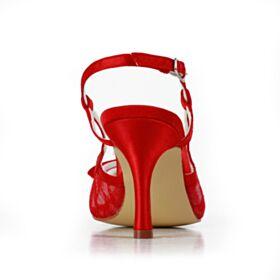 Satin Mit Strasssteine Sandaletten Elegante Cut Out Brautschuhe Tüll Mit 8 cm High Heels Rot