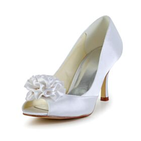 Bout Rond 8 cm Talons Hauts Blanche Satin Chaussure Mariage Peep Toes