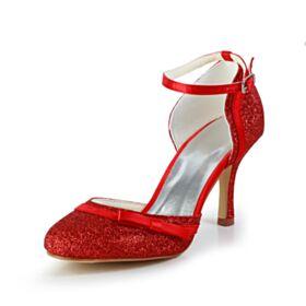 Avec Bride Cheville Talon Haut Luxe Sequin Talons Aiguilles Escarpins Paillette Chaussure Mariée Bout Rond Rouge