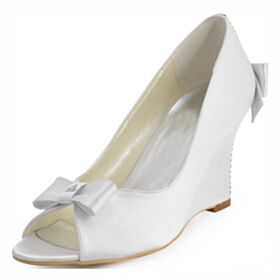 Cuña Elegantes Punta Redonda Sandalias Zapatos Para Boda Peep Toe Blancos Tacones Altos 8 cm
