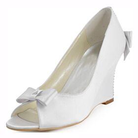 Wedges Bridals Wedding Shoes Bridesmaid Shoes Open Toe Rhinestones Round Toe Satin 3 inch High Heel White Womens Sandals Elegant