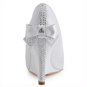 Runde Zeh Brautschuhe Brautjungfer Schuhe Mit Strasssteine Weiß Keilabsatz 8 cm High Heel Peeptoes Mit Schleife