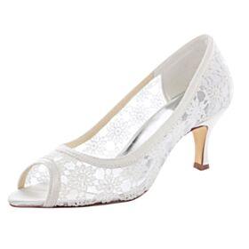Elegante Ivory Sandalen Stiletto 7 cm Heel Peep Toe Kanten Trouwschoenen