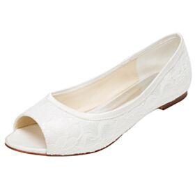 Peeptoes Color Marfil Planas Elegantes De Tul Sandalias Zapatos Novia