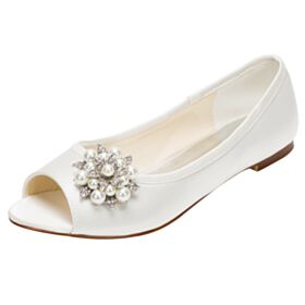 Bridals Wedding Shoes Flat Round Toe With Rhinestones Ivory Sandals Peep Toe