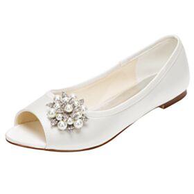 Perlas Peep Toe Punta Redonda Elegantes De Saten Zapatos De Boda Sandalias