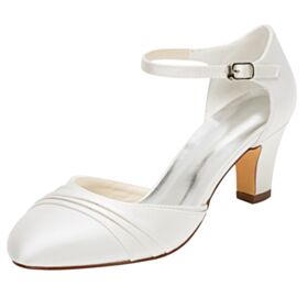 Satin Ivory Mid Heels Bridal Shoes Stilettos Bridesmaid Shoes Pleated Round Toe D orsay Elegant Sandals For Women