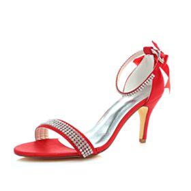 Runde Zeh Rot Brautjungfer Schuhe Knöchelriemen Mit 8 cm High Heel Brautschuhe Stilettos Sandaletten Damen