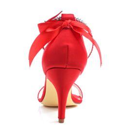 Bride Cheville Bout Rond Chaussure Mariée Talon Haut Sandale Satin Élégant Rouge Talons Aiguilles