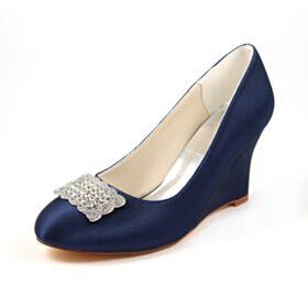 ハイヒール エレガント ウェッジ ソール 結婚式 靴 ヒール 高い ヒール サテン パンプス 4921200341F