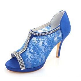 Peep Toes Talons Aiguilles Chaussure Demoiselle D honneur Talon Haut Chaussure Mariée Bout Rond Élégant Bleu Roi Strass