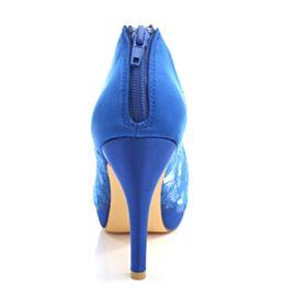 Satin Peeptoes Mit 10 cm High Heels Schönes Brautjungfer Schuhe Stilettos Royalblau Brautschuhe Tüll