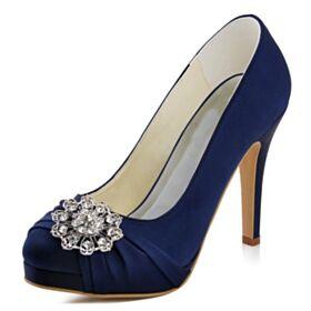 エレガント ハイヒール ネイビー ハイヒール プリーツ パンプス 結婚式 靴 サテン 4021200322F