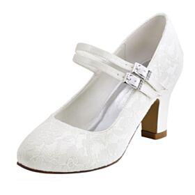 Creme Runde Zeh Elegante Pumps Spitzen Satin Brautjungfer Schuhe Knöchelriemen Brautschuhe Chunky Heel