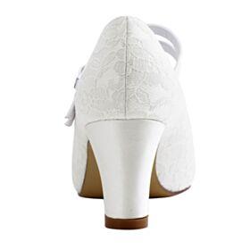 Talon Mid Satin Dentelle Élégant Bout Rond Chaussure Demoiselle D honneur Chaussure Mariage Talons Epais Ivoire Escarpins