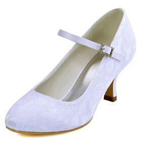 Witte Kanten 7 cm Heel Steentjes Bruidsschoenen Stiletto Enkelband Satijnen Pumps