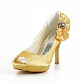 10 cm High Heel Elegant Bridals Wedding Shoes Peep Toe Sandals With Bowknot Bridesmaid Shoes Yellow