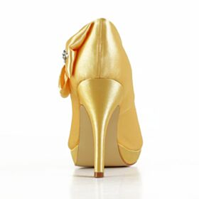Jaune Satin Chaussure Mariée Bout Ouvert Talon Aiguille Noeud 10 cm Talon Haut Élégant