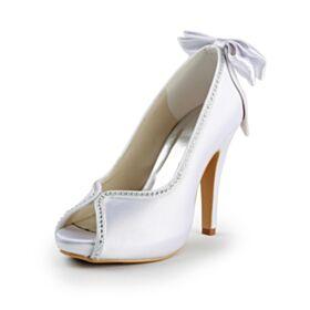 Con Fiocco Raso Bianco Scarpe Damigella Scarpe Da Sposa Con Strass Tacco Alto Sandali Tacchi A Spillo Eleganti