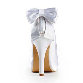 10 cm Talon Haut Strass Talon Aiguille Chaussure De Mariée Peep Toes Avec Noeud Blanche