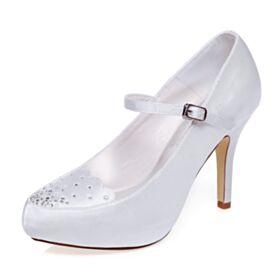 10 cm Talons Hauts Talons Aiguilles Bout Rond Chaussure Mariage Escarpins Strass Blanche Élégant Chaussure Demoiselle D honneur