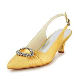 4 cm Tacon Bajo Zapatos Con Tacon Zapatos Novia Amarillo Mostaza Stiletto Satin Elegantes