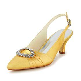 Chaussure De Mariée Bout Pointu Talon Aiguille Belle Petit Talon Jaune Escarpins