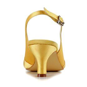 Pumps Elegante 4 cm Hakken Stiletto Trouwschoenen Met Steentjes Gele