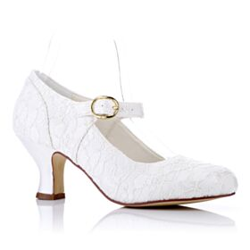Stiletto Bridesmaid Shoes Mid High Heeled Tulle Elegant Bridals Wedding Shoes Pumps Shoes