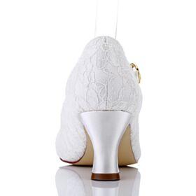 Avec Bride Cheville Escarpins Chaussure Mariée Talon Aiguille Talon Mid Élégant Blanche