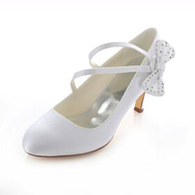 White Mid High Heeled Strappy Stiletto Beautiful Round Toe Pumps Wedding Shoes