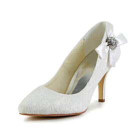 3 inch High Heeled With Rhinestones Bridal Shoes Pointed Toe Pumps Dress Shoes White Stilettos Elegant
