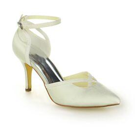Schönes Ivory High Heel Brautjungfer Schuhe Satin Brautschuhe Stilettos Knöchelriemen Absatzschuhe