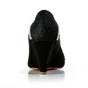 Glitter Satin Round Toe Black Elegant Bridals Wedding Shoes Sparkly Wedges With Rhinestones Luxury 7 cm Heel Pumps Shoes