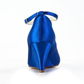 7 cm Talon Mid Bleu Roi Compensées Peep Toes Bout Rond Satin Élégant