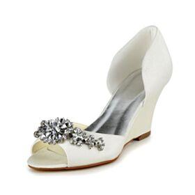 Peep Toes 7 cm Talon Mid Chaussure Mariée Strass Sandale Compensées Satin Ivoire Bout Rond Belle
