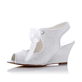 Chaussure De Mariée Élégant Compensées Chaussure Demoiselle D honneur Blanche Bout Ouvert Talon Mid Avec Bride Cheville Sandales