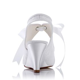 White 7 cm Heeled With Ankle Strap Bridal Shoes Wedges Elegant Satin Bridesmaid Shoes Sandals