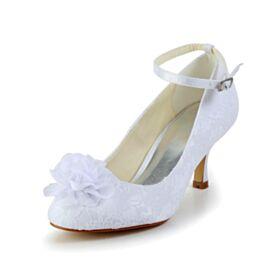 Bout Rond Blanche Chaussure De Mariée Escarpins 7 cm Talon Mid Tulle Bride Cheville